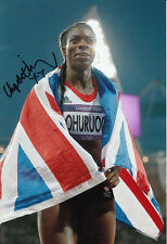 Christine Ohuruogu Hand Signed 12x8 Photo London Olympics 2012.