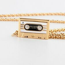 KATE SPADE 12K Gold Plated Jazz Things Up Cassette Mini Pendant Necklace NEW