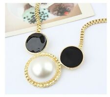 New Fashion Enamel Glazed Pearls Mickey Mouse Head Pendant Long Chain Necklace
