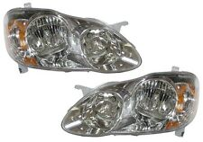 New Replacement Chrome Headlights PAIR / FOR 2003-08 TOYOTA COROLLA