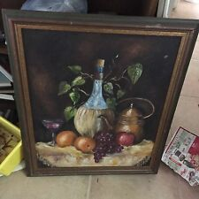 Vintage Framed Signed Oil Painting Wine & Fruit Italian Theme