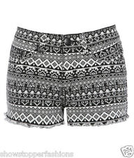 NEW Womens SHORTS DENIM AZTEC Ladies HOT PANTS Size 8 10 12 14 16 short Black