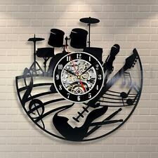 Black Music Instruments Notes Exclusive Wall Clock Made Of Vinyl Record GIFT
