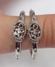 Sterling Silver Ornate Half Hoop Earrings ~ 9.5 grams ~ 13-A8592