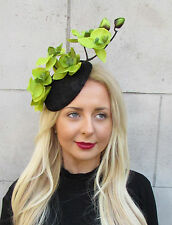 Black Green Orchid Flower Fascinator Hat Statement Headpiece Races Vtg Clip 2292