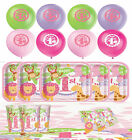 1st Birthday Pink Jungle Safari Party Pack Kit Decorations Girl Tableware Animal