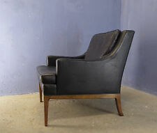 Antiguo de mediados de siglo danés moderno 1960 Mogensen estilo cuero sillón de madera de teca #2