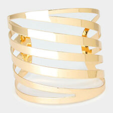 "2"" gold lined bangle cuff bracelet stack basketball wives"