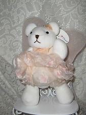 CHRISTMAS ANGEL BEAR HEART TO HEART TAG JOINTED PINK