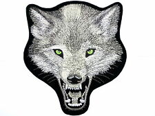 Lone Wolf Biker Motorcycle Rider Skull Embroidered Big XL Back Jacket Patch 10""