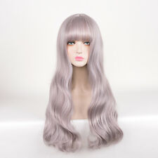 Long Curly Hair Mermaid Shine Silver Pink Mix Tapered Fringe bangs wig wigs