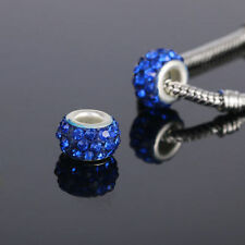 10pcs Silver GLASS BEAD LAMPWORK fit European Charm Bracelet Deep Blue R4