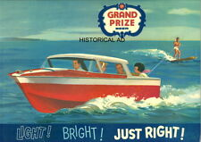 GRAND PRIZE BEER PHOTO RARE VINTAGE 1954 HOUSTON TEXAS WOOD BOAT WATER SKIING