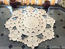 """Hand Crocheted Area Rug 60"""" Round Handmade Crochet Lace Doily Jute Vintage New"""