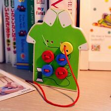 Children Kids Toddler Sew On Buttons Lacing Board Wooden Toy Gift Teaching Aid