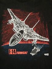 Vintage F-14 Tomcat US Navy Aircraft Carrier Airforce 90's Dot Print T Shirt M