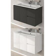 Mobile arredo da bagno 80 100 lavabo ceramica bianco lucido grigio talpa ywd