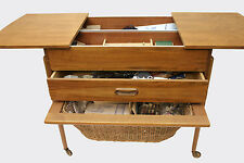 Old Danish Modern Sewing Box Storage Table Wood Basket RARE Vintage Mid-Century