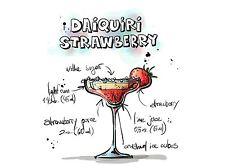 Impresión arte cartel Pintura alcohol cóctel receta Fresa Daiquiri lfmp0949