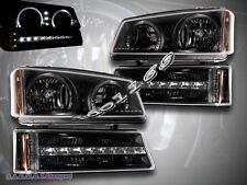 Chevy Silverado/Avalanche 03-06 Black LED Headlights+Bumper Lights Twin Halo