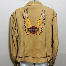 Rare Womens Soft Leather Tan Harley Davidson Size Large Motorcycle Jacket Wings