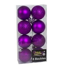 Christmas Decoration 8 Pack 50mm Glitter / Plain Baubles - Purple