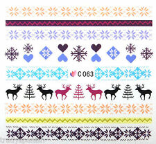 Christmas Reindeer Snowflakes Xmas Nail Art Stickers Nail Water Decals C063