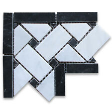 Carrara White Carrera Marble Basketweave Mosaic Corner Black Dots 4x4 Polished