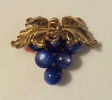 VTG 1950s CORO Grape / Grapevine Brooch Gold Tone & Blue Moonglow, signed
