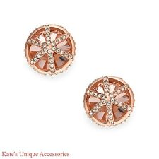 $38 Fossil Brand Cage Rose Goldtone Women's Stud Earrings Silk & Crystal JF01592