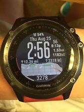 Garmin Fenix 3 Watch Red Black Band Used Charger GPS Running Tracker Time Steps