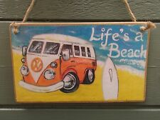 LIFE'S A BEACH HANDCRAFTED WOODEN SIGN VW CAMPER SURF HIM DAD SON GIFT IDEA