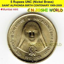 SAINT ALPHONSA BIRTH CENTENARY 1909-2009 Nickel-Brass 5 Rupees UNC 1 Coin