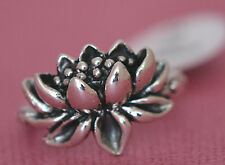 PRETTY LOTUS FLOWER RING All Genuine Sterling Silver.925 Stamped Size 7