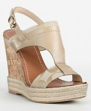 COACH MENDEZ KHAKI SIGNATURE LEATHER WEDGE SANDAL SHOES WM 10/M NIB