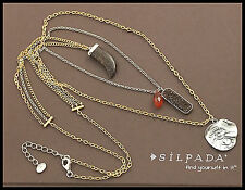 SILPADA .925 Sterling Silver, Bronzite, Carnelian & Copper Druzzy Layer Necklace