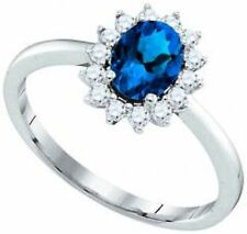 Sapphire/Diamond Engagement Ring 14K White Gold 1.29Ctw Diamond (Princess Diana)