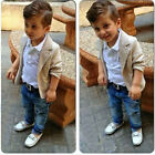 3PCS Set Baby Boys Toddler Kids Beige Coat+Shirt+Denim Trousers Outfits Clothes