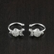 Womens 925 Sterling Silver CZ Good Luck Owl Luck Non Pierced Hoop Earrings
