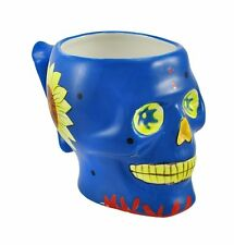 Blue Skull Mug Cup Day of the Dead D.O.D. Dia De Los Muertos Figurine Statue