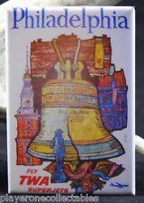 Philadelphia Vintage Travel Poster - Fridge / Locker  Magnet. TWA Airlines