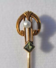Antique Marked 14k Solid Yellow Gold Peridot & Pearl Harp Shaped Stick Pin 1.5g