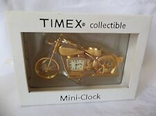 Timex Collectible Mini Clock gold color Harley Davidson Motorcycle With Box