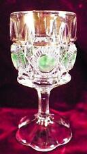 Bull's Eye & Daisy Water Goblet Green U S Glass Early American Pattern Antique