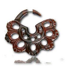 """PAIR SONO WOOD FAKE CHEATER GAUGES PLUGS CARVED SPIRALS TRIBAL 1"""" 1/2 INCH LONG"""