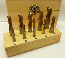 10 piece 3 flute End Mill Set TiN Coated - Metric - 3-12mm