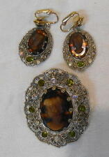 Vintage Cameo Brooch and Earrings Faux Tortoise Shell Multi Layer Dimensional