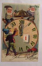 """"""" anno,Zwerge,Orologio,Sveglia,Fungo,Lanterna,Martello"""" 1904,Cartolina rilievo"""