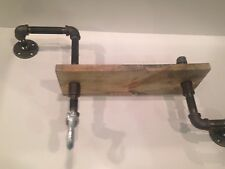 """Industrial shelf with hook and 1""""X12"""" WOOD (Pick your own stain and length)"""