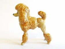 Miniature Porcelain Hand Painted Apricot/Brown Poodle Standing Dog - Lion Cut